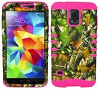 Pink Oak Tree Camo Hybrid Cover Case + Screen Protector for Samsung Galaxy S5
