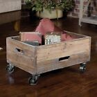 VINTAGE STYLE FIR WOOD ACCENT ROOLING STORAGE ORGANIZATION CART INDUSTRIAL LOOK