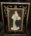 VINTAGE ART DECO GLASS PICTURE FRAME, REVERSE PAINTED 5x7