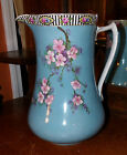 ANTIQUE VERY OLD NIPPON TURQUOISE PORCELAIN PITCHER VASE CHERRY BLOSSOMS