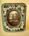 1800's Antique Italian Micro Mosaic Tile Miniature Picture Frame  Raised Flowers