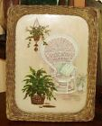 BEAUTIFUL ANTIQUE PRINT W/ REVERSE PAINTED PLANTS ON GLASS OLD CANE FRAME NICE