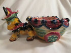 Vintage Pottery Donkey Mule Pulling a Cart Planter ~ Bright Colors ~ Italy