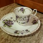 GOLDEN CROWN BOUQUET OF MONTH VIOLET PLATE BONE CHINA ENGLAND FEBRUARY +x SAUCER