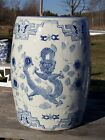 ANTIQUE CHINESE DRAGON BLUE AND WHITE GARDEN SEAT