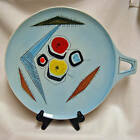 Large Antique Mid Century Modern Hand Painted Blue Serving Tray Charger Plate