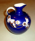Antique Japanese Cobalt White and Gold Flowers Cloisonne Pitcher Vase c.1900