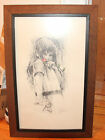 Vintage Framed Pencil Watercolor Etching by Milton Goldman