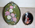 Vintage Oval Bubble Glass Picture Frames Dried Flowers  Lot of 2 Glass
