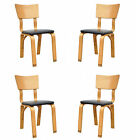 4 Vtg Mid Century Modern Thonet Bent Wood Side Dining Chairs Danish Style