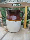 Vintage Stoneware Pottery Pitcher Crock Jug Brown & Tan USA 9.75