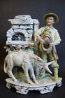 Vintage Bisque Porcelain Figurine with Vase *Boy with Donkey* Germany # 11220