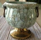 Delftware of Holland Blue and Gold Hand Painted Ceramic Urn with Brass Pedestal