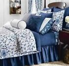 Chaps Camellia 3 Piece King Duvet/Shams Cover Set Blue White Floral