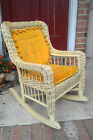 ANTIQUE CHILDS WICKER ROCKING CHAIR YELLOW PAINT HANDMADE CUSHIONS LOVELY STURDY