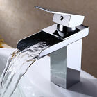 Chrome Finish Brushed Waterfall Faucet Brass Bathroom Basin Sink Mixer Tap