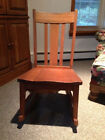 Antique oak rocking chair with sewing drawer, pickup only