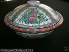 Antique Rose Medallion ROUND Soup Tureen Server with Lid Handpainted in China