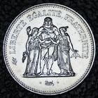 1976 FRANCE - 50 FRANCS - .900 SILVER - Hercules - Huge Coin - NCC