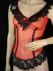 vintage Red sheer Nightgown negligee 60's sexy Pinup babydoll Top black lace M