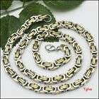 Men's 9.6mm Square Tone Silver Gold Byzantine Necklace Chain Stainless Steel