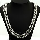 Boys Mens Chain 15MM 22 INCH Silver Tone Curb Cuban Stainless Steel Necklace
