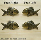 Lot of 4 pcs Vintage SMALL MOUTH BASS FISH Antique Solid Brass Cabinet KNOB Pull