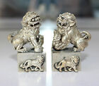 Chinese handwork white copper Foo Dog Lion Pixiu Guardian Statue Seal Stamp Pair