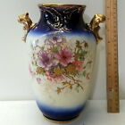 GORGEOUS HANDPAINTED FLORAL VASE W/ GOLD ACCENTS by CF & CF ENGLAND CROWN  STAMP
