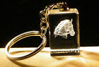 Laser Etched Crystal Glass Cube Kentucky Horse Key Fob Keychain