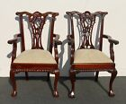 Pair Vintage Chippendale Style ACCENT ARM CHAIRS Carved Wood BALL