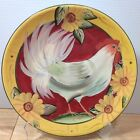 Cracker Barrel Rooster Dinner Plate Susan Winget White Chicken Sunflowers