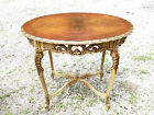 Antique Elegant French ornate wood carved oval parlor table Louis XV