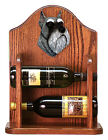 Schnauzer Dog Wood Wine Rack Bottle Holder Figure Salt Pep 2 Bottles Dark