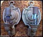 Vintage Pair 20's Art Deco Wall Sconces Electric Candle Nouveau Metal Lights