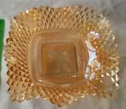 ANTIQUE INDIANA GLASS SQUARE CANDY DISH  RUFFLED EDGES