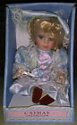Cathay Collection Porcelain Doll Blue Dress Blue Eyes Blonde Hair In Box