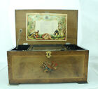 ANTIQUE SWISS CYLINDER MUSIC BOX with BELLS in vue PLAYS 8 AIRS VINTAGE WORKS!