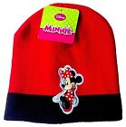 Disney Minnie Mouse Knit Beanie Hat Cap Red & Black Winter Girls One Size NWT