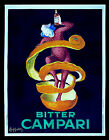 BITTER CAMPARI LEONETTO CAPPIELLO HUGE ITALIAN POSTER CLOWN ORANGE 1921 ART DECO