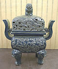 Black Color Carved Dragon Design Porcelain  Incense Burner Foo Dog Top
