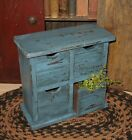 Wood Table Riser BOX*For Spice/Tea/Candles/Greenery*Four Apothecary Drawers*BLUE