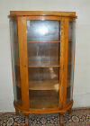 ANTIQUE 1890-1910' Oak  Refinished Bowfront China Curio Display Cabinet Curved
