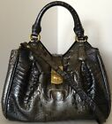 ❤ BRAHMIN MINI ELISA SATCHEL GUNMETAL STEEL METALLIC CROC EMBOSS LEATHER NWT❤