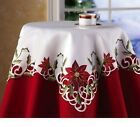 Christmas Holiday Poinsettia Tablecloth Linen Square White Red Lace Embroidered