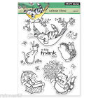 New Penny Black CRITTER TIME Clear Stamps Cat Flowers Flower Hedgy Hammock Mice