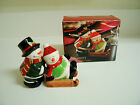 Kirklands Christmas Snowmen on Sled Salt & Pepper Shakers - Gently Used
