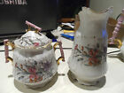 Vintage Hand Painted Creamer/Pitcher and Sugar Bowl w/Gold - German?