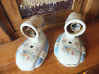 Pair Vintage 1930's Porceliers Floral Porcelain ART DECO Blue Wall Sconce Light