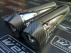 Honda VTR 1000 SP1 Pair of Stainless Steel Oval Carbon Outlet Exhausts Cans